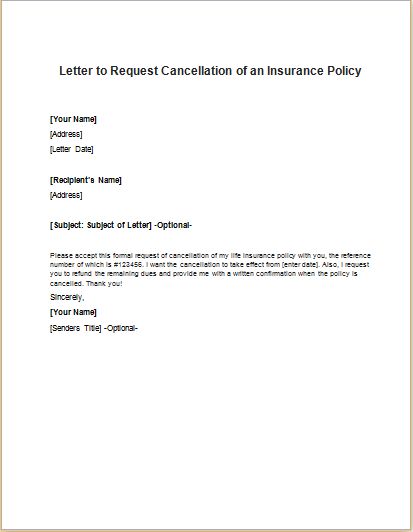 Cancel My Car Insurance Policy Letter | Docoments Ojazlink